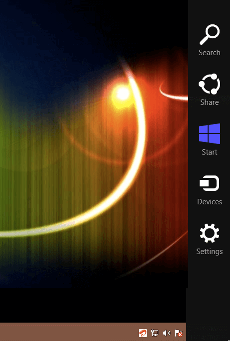 Charm Menu of Windows 8