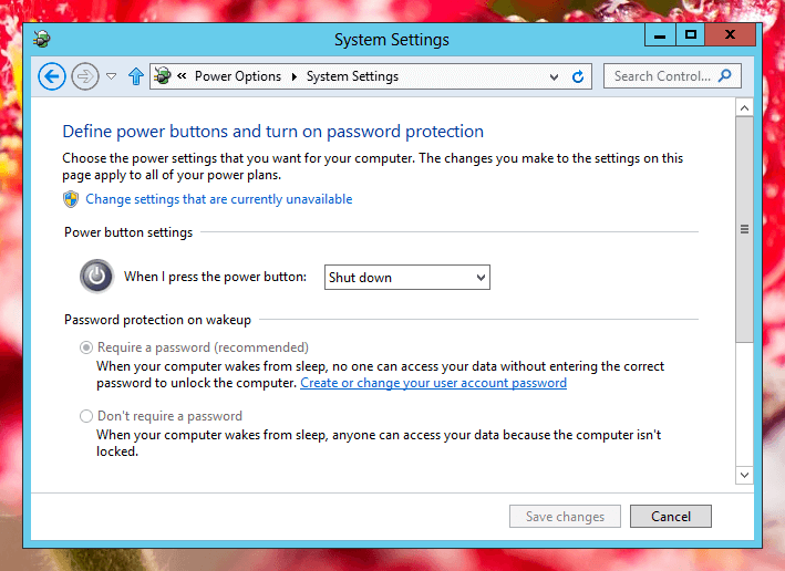 Control Power Button Press on a Windows 8 Computer