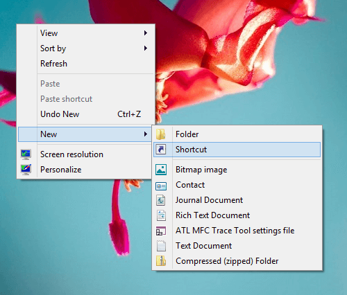 Create Desktop Shortcut on Windows 8