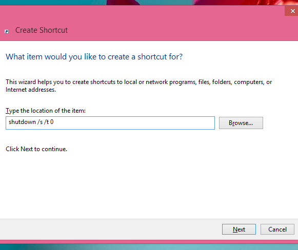 Create Shortcut on Windows 8