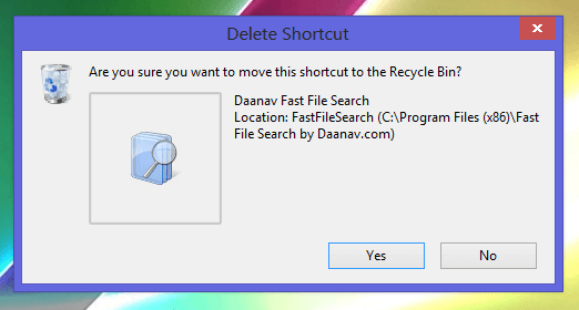 Delete Confirmation Dialogue In Windows 8