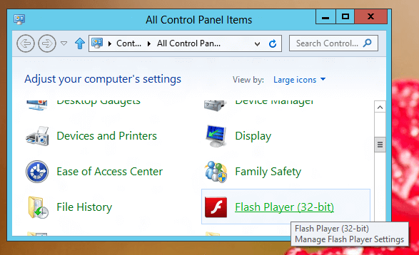Flash Player Control Panel Icon in Windows 8