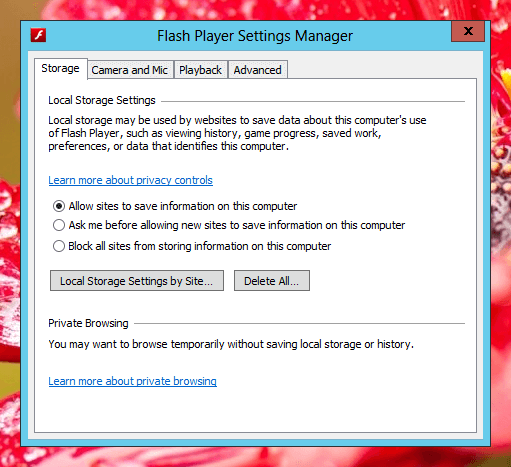 Flash Player Settings Manager on Windows 8