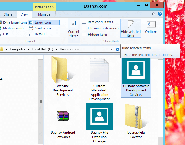 Hide Files and Folders in Windows 8