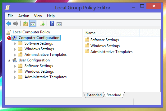 local group policy editor window in windows 8