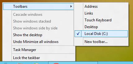 New Toolbar on Windows 8 Taskbar