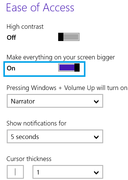 ON Mode to make Screen Bigger in Windows 8