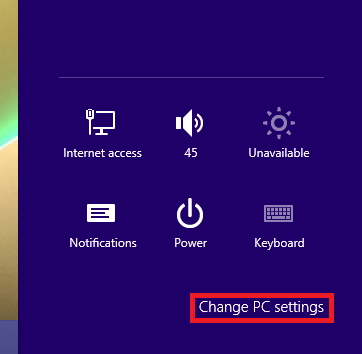 Settings Panel in Windows 8