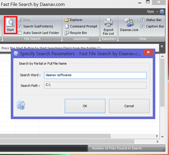 Start button and its search window of Fast File Search in Windows 8
