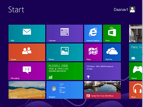 Screenshot of Windows 8 Start menu