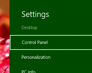Windows 8 Charms Bar with Control Panel selected