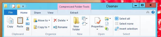 Windows 8 Explorer provides Compression Folder Tools