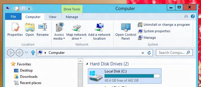 Windows 8 Explorer provides Hard Disk Options