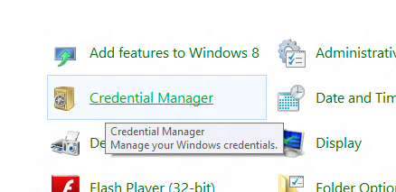 Credential Manager in Windows 8 from Control Panel