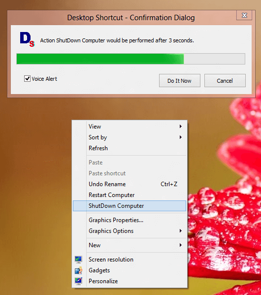 Desktop Shortcut Utility Executing Desktop Command