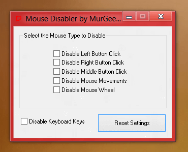 Disable Mouse Clicks