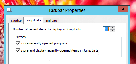 Jump List Configuration in Windows 8