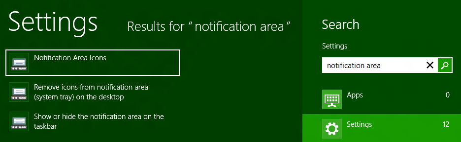 Notification Area Icon Settings from Windows 8 Search