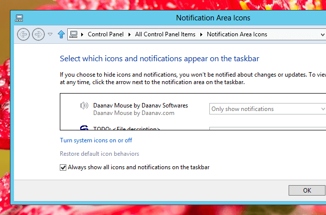 Configure Notification Area Icons of Windows 8
