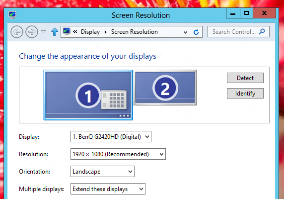 Screen Resolution Settings in Extended Mode for Dual Monitors on Windows 8