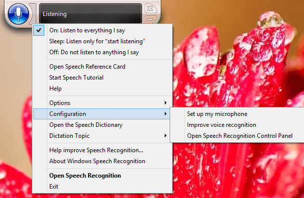 Windows 8 Speech Recognition Settings