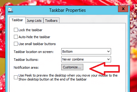 Windows 8 Taskbar Properties to Configure Notification Area Icons