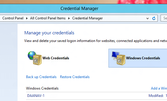 Windows Credentials in Windows 8