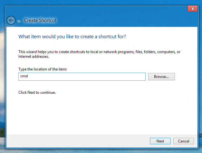 Create Shortcut to Command Prompt in Windows 8