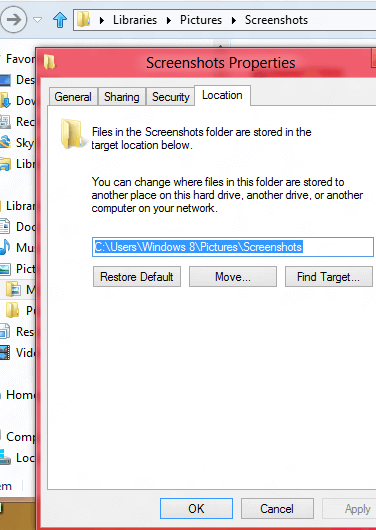 Modify Screenshots Location in Windows 8