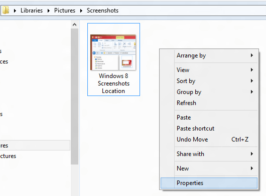 Properties of Windows 8 Screenshots Location