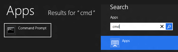 Search for Command Prompt in Windows 8
