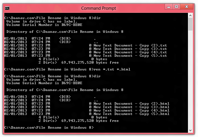 Change File Extension in Windows 8 with ren Command