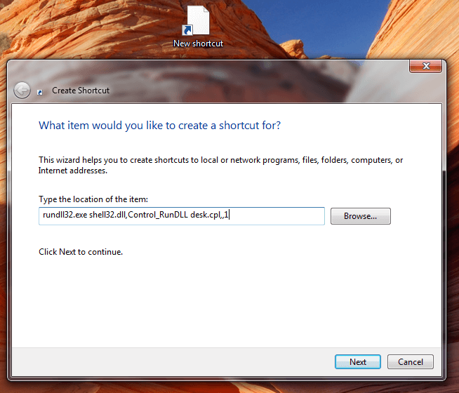 Desktop Shortcut to Launch Screen Saver Settings