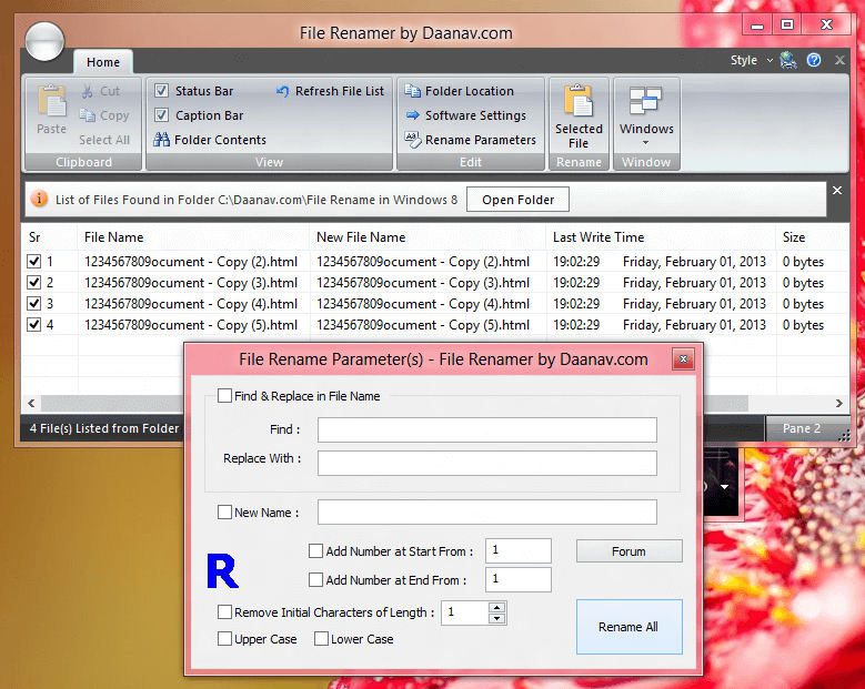 File Renamer on Windows 8