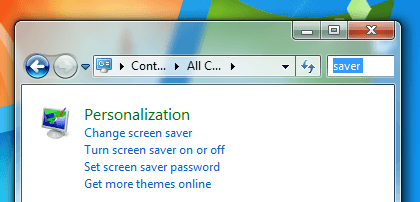 Launch Screen Saver Settings from Control Panel