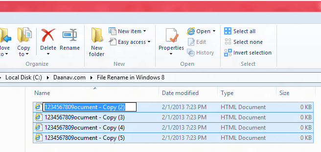 Rename Multiple Files in Windows 8 Explorer