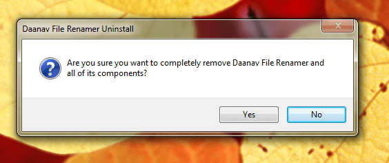 Software Uninstall Confirmation on Windows