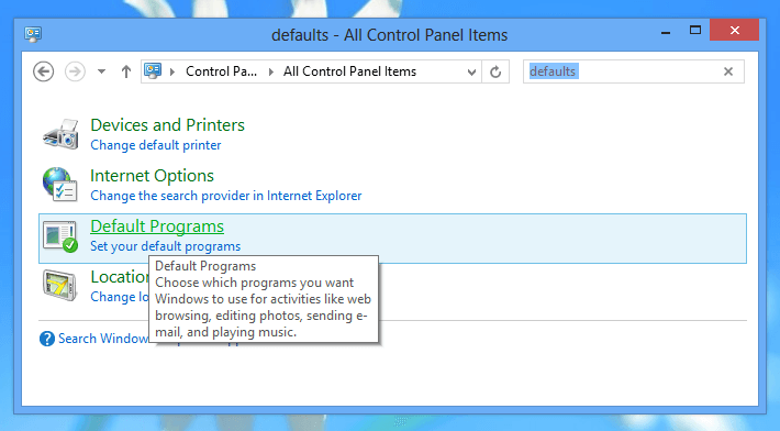 Change Default Programs from Control Panel