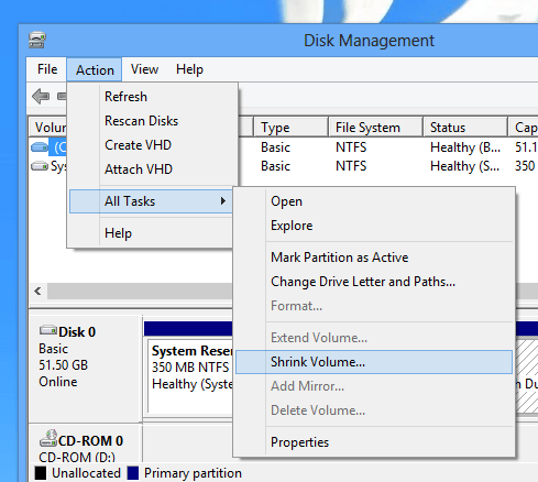 Launch Shrink Drive Action from the Windows 8 Disk Management