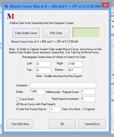Match Color and Click in Mouse Macro