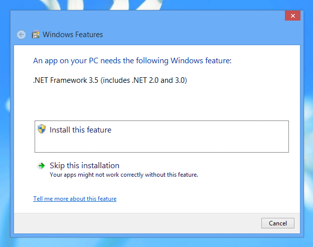 .NET 3.5 on Windows 8