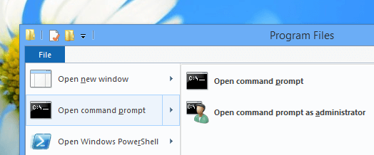 Open Command Prompt from Windows 8 File Explorer