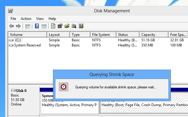 Shrink Hard Disk Space on Windows 8