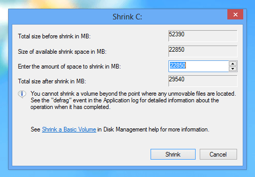 Specify Shrinked Hard Disk Size on Windows 8