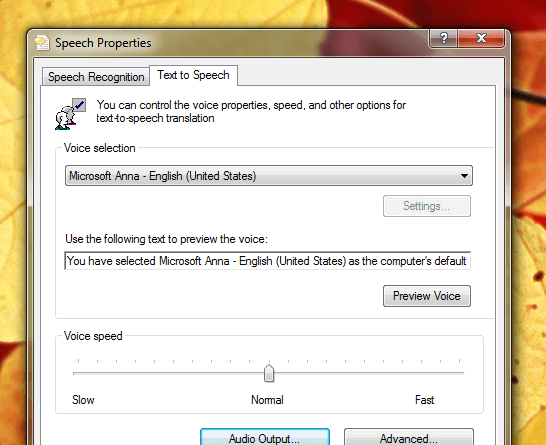 Speech Properties from Windows Control Panel
