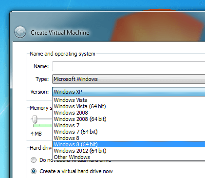 Windows 8 32 bit or 64 bit in Virtual PC