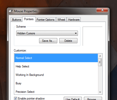 Hide Mouse Cursor on Windows with Mouse Pointer Scheme