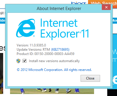 Internet Explorer 11 with Windows 8.1 pro Preview