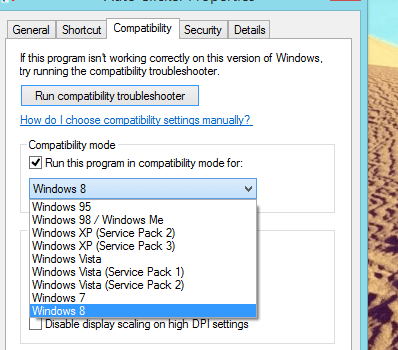 Windows 8 Compatibility Mode
