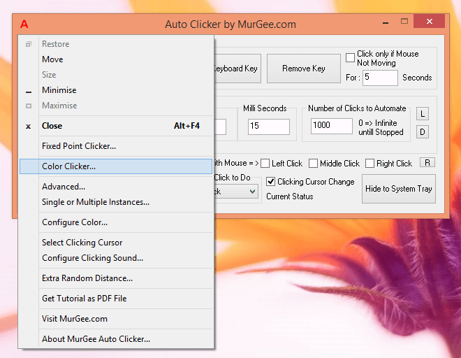 Launch Fast Color Clicker from Auto Clicker's System Menu